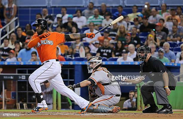 Marcell Ozuna of the Miami Marlins hits during a game against the San Francisco Giants at Marlins Park on July 2 2015 in Miami Florida