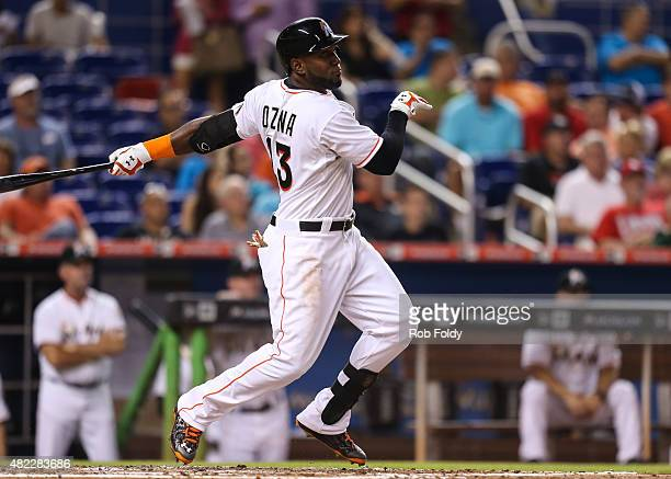Marcell Ozuna of the Miami Marlins in action during the game against the St Louis Cardinals at Marlins Park on June 23 2015 in Miami Florida
