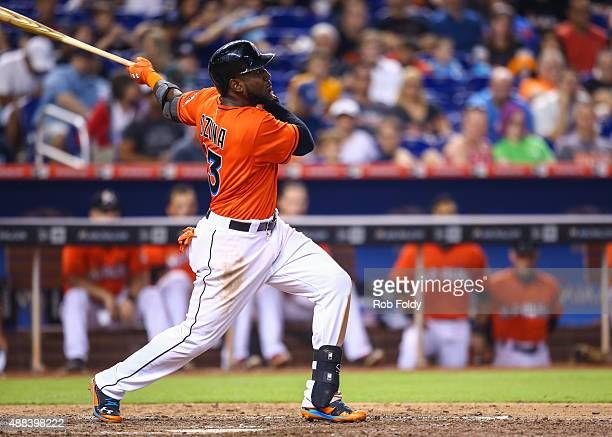 Marcell Ozuna of the Miami Marlins in action during the game against the New York Mets at Marlins Park on September 6 2015 in Miami Florida