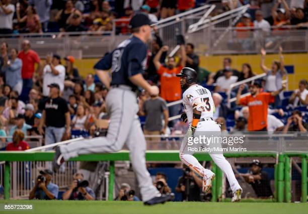 Marcell Ozuna of the Miami Marlins in action during the game against the Atlanta Braves at Marlins Park on September 29 2017 in Miami Florida