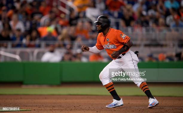 Marcell Ozuna of the Miami Marlins in action during the game against the New York Mets at Marlins Park on April 16 2017 in Miami Florida