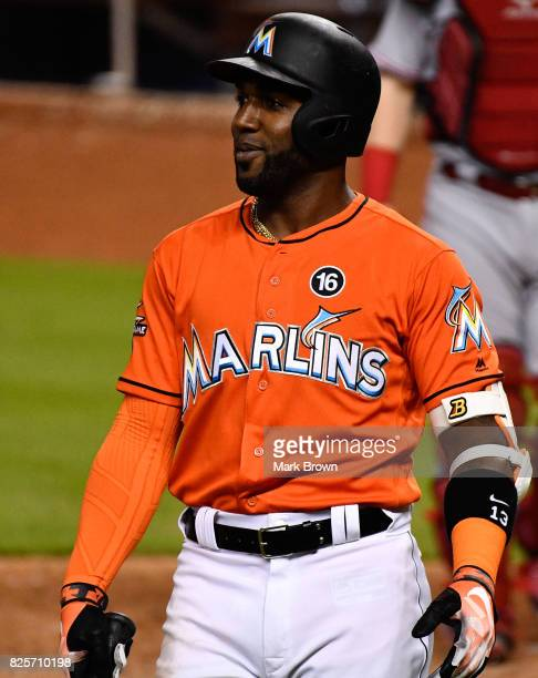 Marcell Ozuna of the Miami Marlins in action during the game between the Miami Marlins and the Cincinnati Reds at Marlins Park on July 30 2017 in...