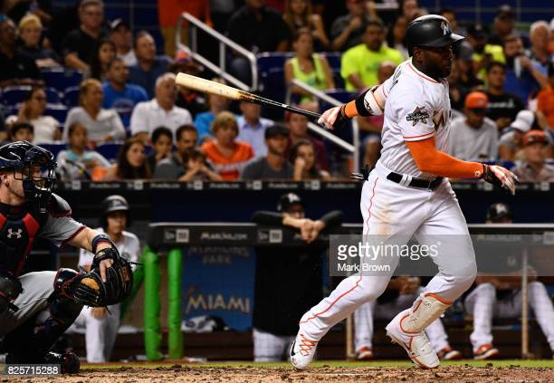 Marcell Ozuna of the Miami Marlins in action during the game between the Miami Marlins and the Washington Nationals at Marlins Park on July 31 2017...