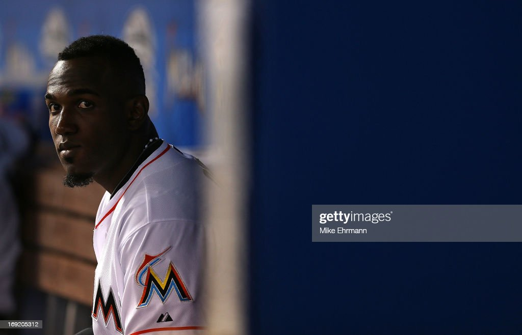 Marcell Ozuna #48 of the Miami Marlins looks on during a game against the Philadelphia Phillies at Marlins Park on May 21, 2013 in Miami, Florida.