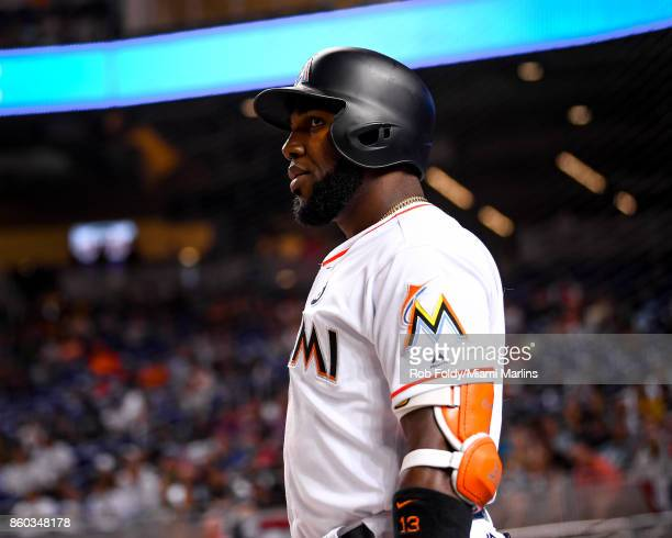 Marcell Ozuna of the Miami Marlins on deck during the game against the Atlanta Braves at Marlins Park on April 12 2017 in Miami Florida