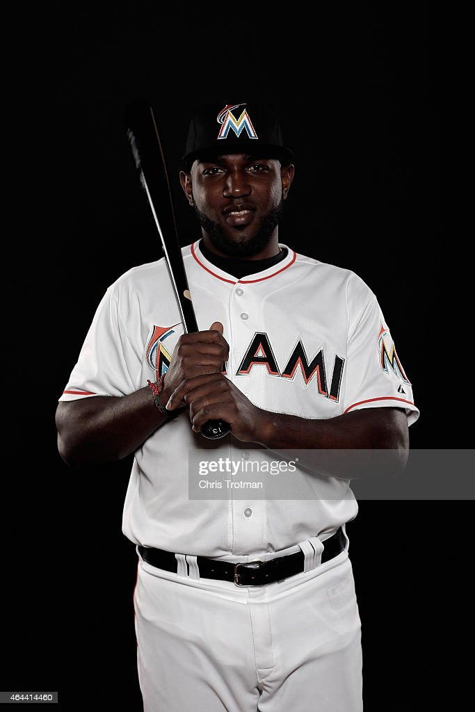 <a gi-track='captionPersonalityLinkClicked' href=/galleries/search?phrase=Marcell+Ozuna&family=editorial&specificpeople=10358366 ng-click='$event.stopPropagation()'>Marcell Ozuna</a> #13 of the Miami Marlins poses for a photograph at Spring Training photo day at Roger Dean Stadium on February 25, 2015 in Jupiter, Florida.