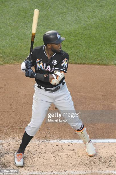 Marcell Ozuna of the Miami Marlins prepares for a pitch during a baseball game against the Washington Nationals at Nationals Park on August 9 2017 in...