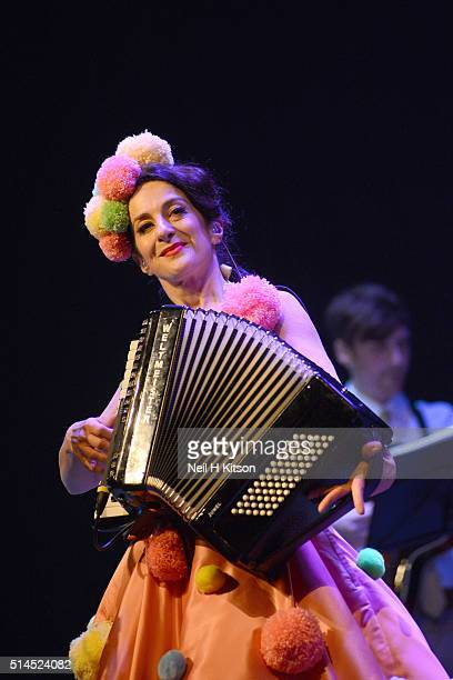 Marcella Puppini of The Puppini Sisters Perform at City Varieties Music Hall on March 07 2016 in Leeds England