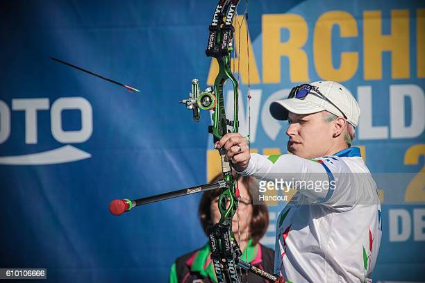 Marcella Tonioli of Italy shoots during the women compound finals at the Hyundai Archery World Cup Final 2016 on September 24 2016 in Odense Denmark