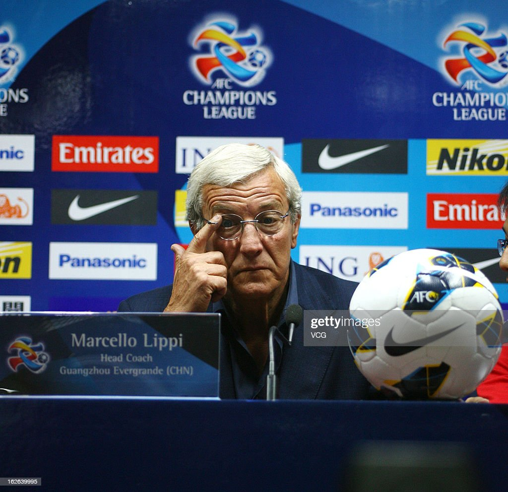 <a gi-track='captionPersonalityLinkClicked' href=/galleries/search?phrase=Marcello+Lippi&family=editorial&specificpeople=535060 ng-click='$event.stopPropagation()'>Marcello Lippi</a>, coach of Guangzhou Evergrande, looks on during a press conference ahead of the AFC Champions League match between Guangzhou Evergrande and Urawa Red Diamonds at Tianhe Sports Center on February 25, 2013 in Guangzhou, China.