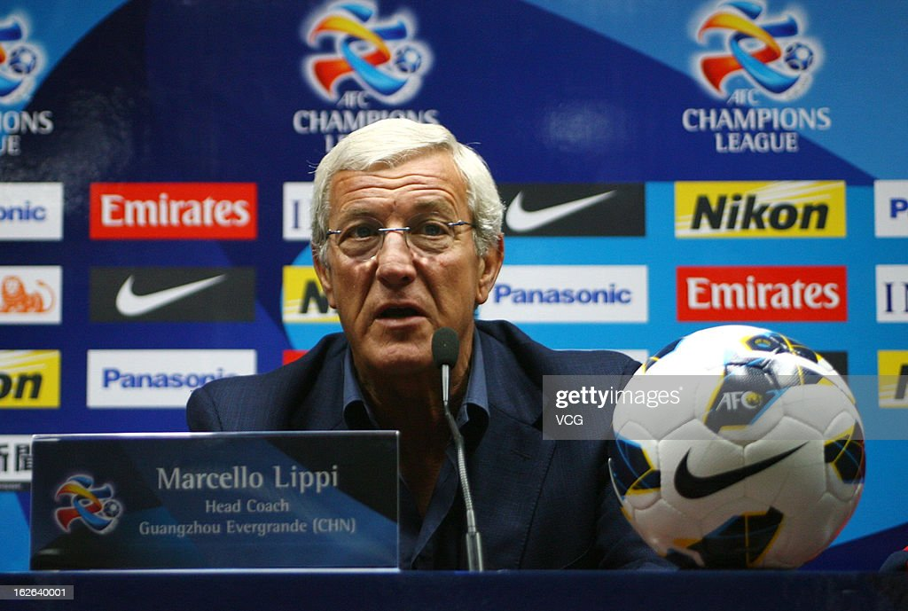 Marcello Lippi, coach of Guangzhou Evergrande, looks on during a press conference ahead of the AFC Champions League match between Guangzhou Evergrande and Urawa Red Diamonds at Tianhe Sports Center on February 25, 2013 in Guangzhou, China.