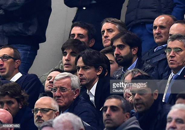 Marcello Lippi Filippo Inzaghi and Roberto Mancini during the EURO 2016 Group H Qualifier match between Italy and Croatia at Stadio Giuseppe Meazza...
