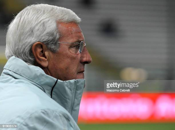 Marcello Lippi head coach of Italy during the FIFA 2010 World Cup European Qualifying match between Italy and Cyprus at StadioEnnio Tardini on...