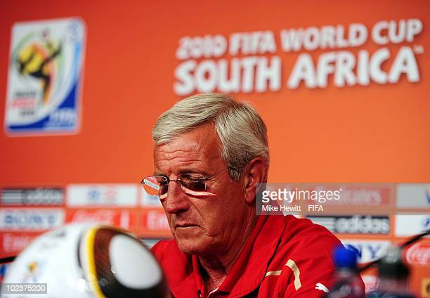 Marcello Lippi head coach of Italy is interviewed a fter the 2010 FIFA World Cup South Africa Group F match between Slovakia and Italy at Ellis Park...