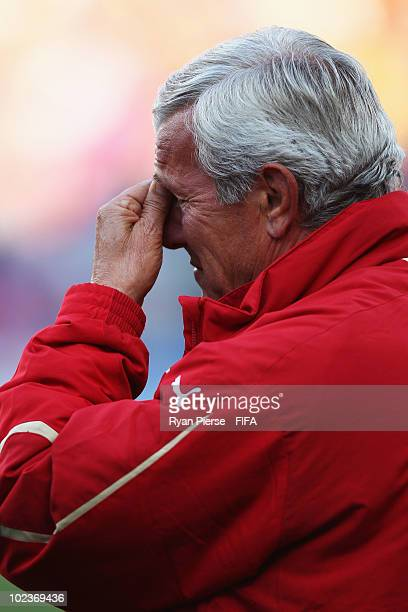 Marcello Lippi head coach of Italy is seen before the 2010 FIFA World Cup South Africa Group F match between Slovakia and Italy at Ellis Park Stadium...