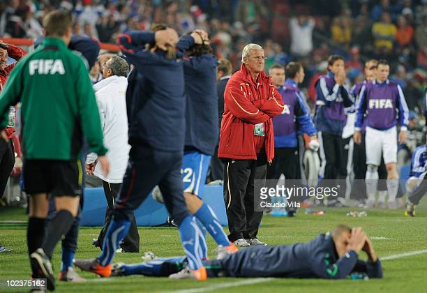 Marcello Lippi head coach of Italy looks on dejected as Italy are knocked out of the competition during the 2010 FIFA World Cup South Africa Group F...