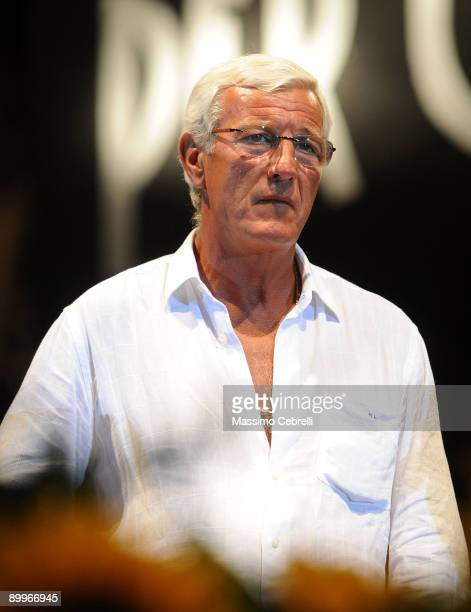 Marcello Lippi head coach of Italy soccer team on stage during the 'Concerto per Viareggio' a charity concert for the victims of a train accident on...