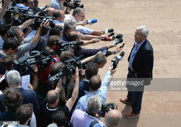 Marcello Lippi speaks to media at Coverciano on May 29 2014 in Florence Italy