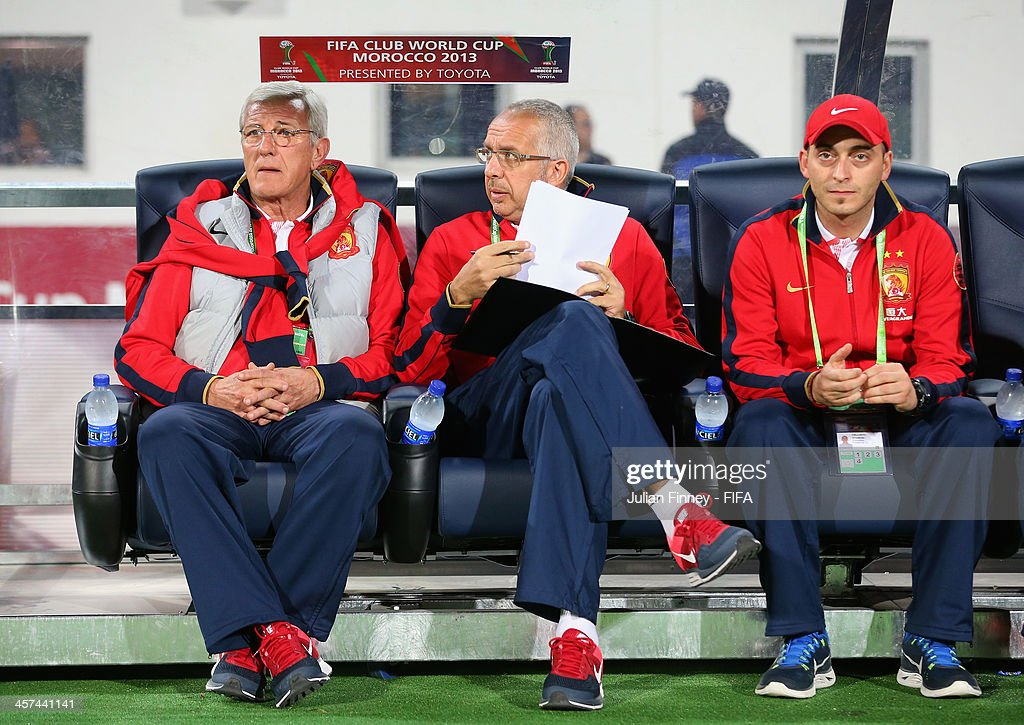 Marcello Lippi the coach of Guangzhou Evergrande FC looks on during the FIFA Club World Cup Semi Final match between Guangzhou Evergrande FC and Bayern Muenchen at the Agadir Stadium on December 17, 2013 in Agadir, Morocco.