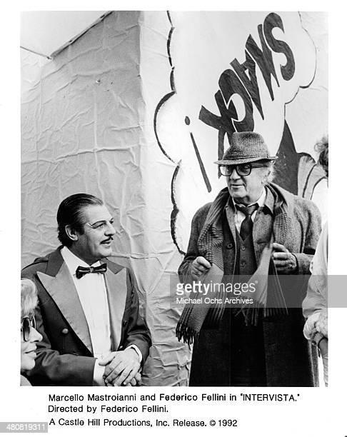Marcello Mastroianni and Federico Fellini in a scene from the movie 'Fellini's Intervista' circa 1987 The movie was rereleased in 1992