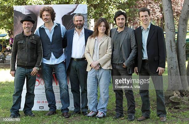 Marcello Mazzarella Guido Caprino Dino Gentili Giovanna Mezzogiorno Massimo De Santis and Filippo Gentili attend 'Sono Viva' photocall at Villa...