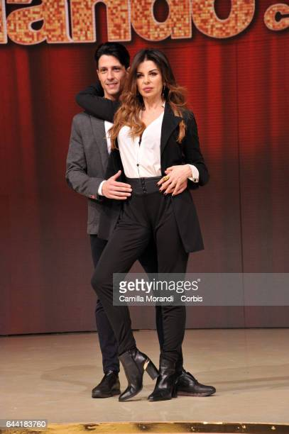 Marcello Nuzio and Alba Parietti attend 'Ballando Con Le Stelle' Press Conference In Rom on February 23 2017 in Rome Italy