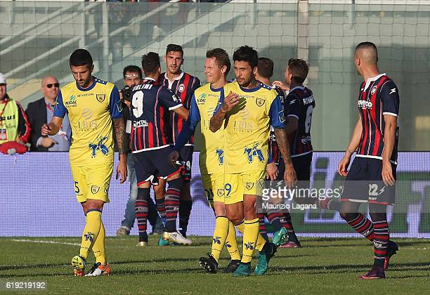 Marcello Trotta celebrates after scoring his team's opening goal during the Serie A match between FC Crotone and AC ChievoVerona at Stadio Comunale...
