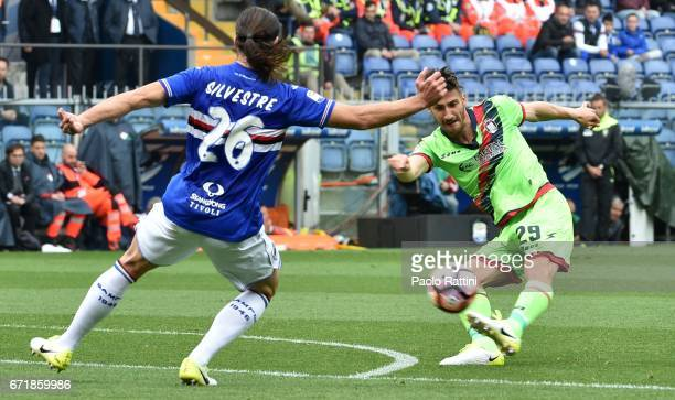 Marcello Trotta chance of goal during the Serie A match between UC Sampdoria and FC Crotone at Stadio Luigi Ferraris on April 23 2017 in Genoa Italy