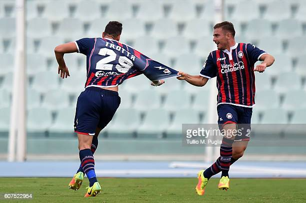 Marcello Trotta of Crotone celebrates after scoring the opening goal during the Serie A match between FC Crotone and US Citta di Palermo at Adriatico...