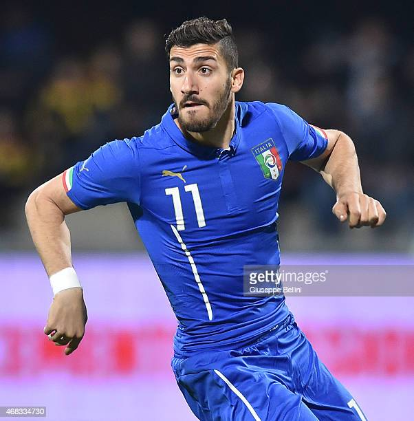 Marcello Trotta of Italy in action during the international friendly match between Italy U21 and Serbia U21 at Stadio Ciro Vigorito on March 30 2015...