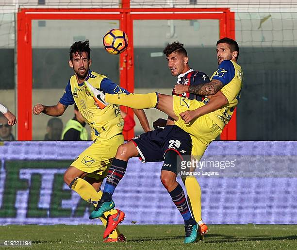 Marcello Trotta of rotone competes for the ball with Alessandro Gamberini of Chievo during the Serie A match between FC Crotone and AC ChievoVerona...