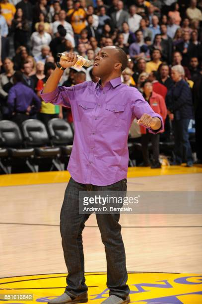 Marcellus Long sings the National Anthem prior to the game of the Orlando Magic against the Los Angeles Lakers at STAPLES Center on March 14 2011 in...