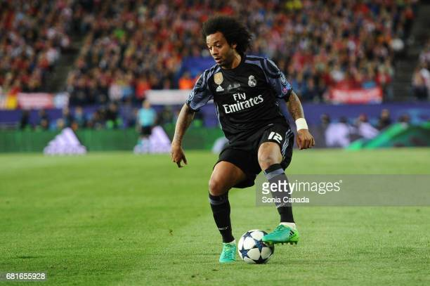 Marcelo #12 of Real Madrid during the UEFA Champions League quarter final first leg match between Club Atletico de Madrid and Real Madrid CF at...