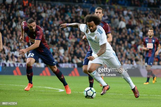 Marcelo #12 of Real Madrid scores to make it 30 during the La Liga match between Real Madrid v Eibar at Santiago Bernabeu on October 22 2017 in...