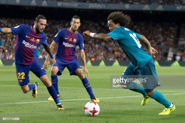 Marcelo and Aleix Vidal during the Supercopa match between the FC Barcelona and the Real Madrid in the Camp Nou Stadium in Barcelona Spain on August...