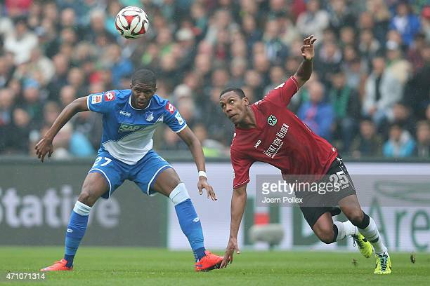 Marcelo Antonio Guedes Filho of Hannover and Anthony Modeste of Hoffenheim compete for the ball during the Bundesliga match between Hannover 96 and...