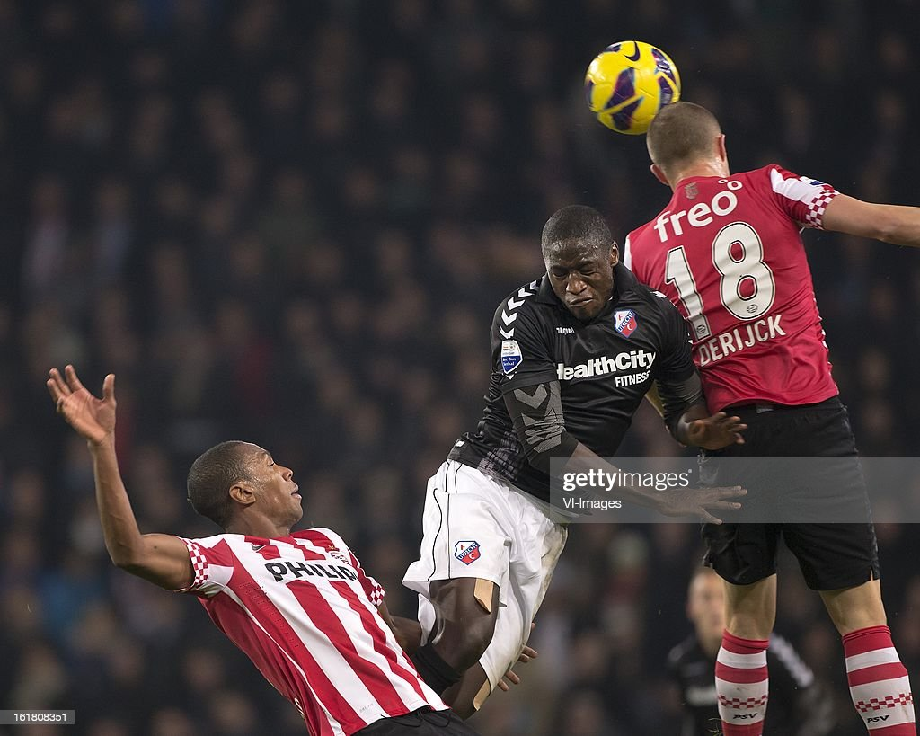 Marcelo Antonio Guedes Filho of PSV, Jacob Mulenga of FC Utrecht, Timothy Derijck of PSV during the Dutch Eredivisie match between PSV Eindhoven and FC Utrecht at the Philips Stadium on february 16, 2013 in Eindhoven, The Netherlands