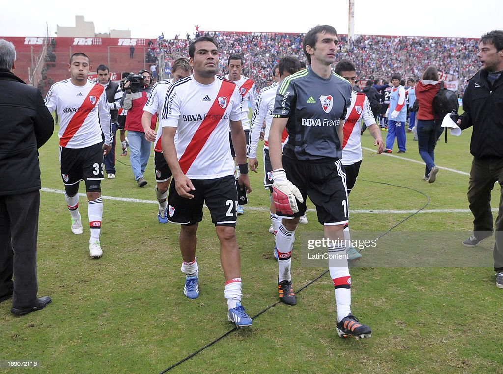 Marcelo Barovero, Carlos Luna and Gabriel Mercado of River Plate leave the field after a match between Union de Santa Fe and River Plate as part of the Torneo Final 2013 at 15 de Abril stadiun on May 19, 2013 in Santa Fe, Argentina.