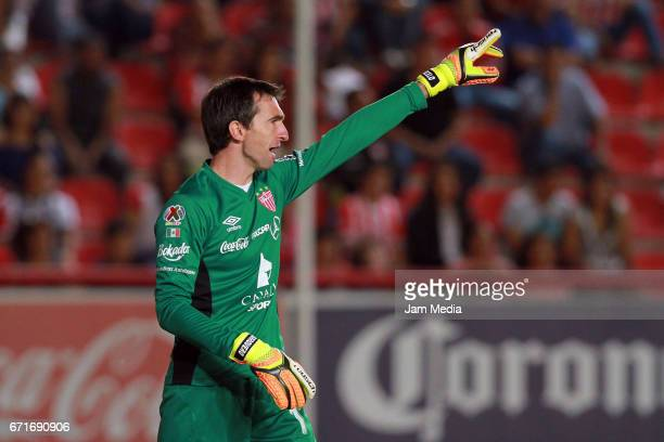 Marcelo Barovero goalkeeper of Necaxa shotus instruction to his teammates during the 15th round match between Necaxa and Morelia as part of the...