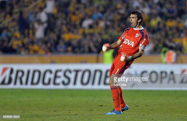 Marcelo Barovero goalkeeper of River Plate celebrates the second goal of his team scored by Rodrigo Mora during a group 6 match between Tigres UANL...