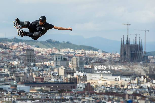 Marcelo Bastos of Brasil warms up prior to the Skateboard Vert Final at the Montjuic Pool during the XGames Barcelona day 1 on May 16 2013 in...