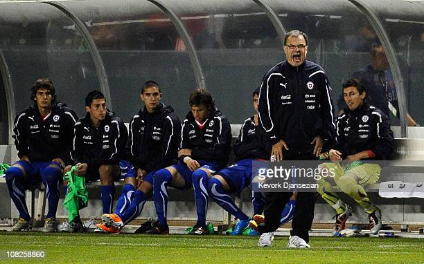 Marcelo Bielsa coach of Chile during the friendly soccer match against United States at The Home Depot Center on January 22 2011 in Carson California