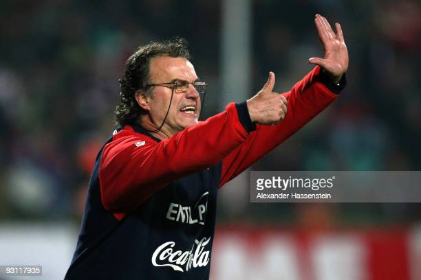 Marcelo Bielsa head coach of Chile reacts during the international friendly match between Slovakia and Chile at the MSK Zilina stadium on November 17...