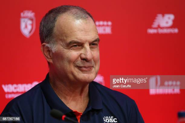 Marcelo Bielsa of Argentina is introduced as the new head coach of Lille OSC during a press conference at Domaine de Luchin on May 23 2017 in...