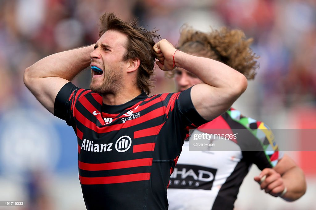 Marcelo Bosch of Saracens celebrates during the Aviva Premiership Semi Final match between Saracens and Harlequins at Allianz Park on May 17, 2014 in Barnet, England.