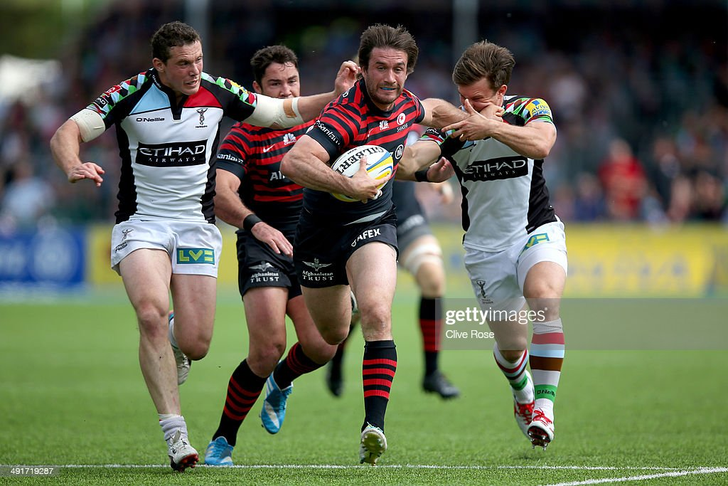 Marcelo Bosch of Saracens in action during the Aviva Premiership Semi Final match between Saracens and Harlequins at Allianz Park on May 17, 2014 in Barnet, England.