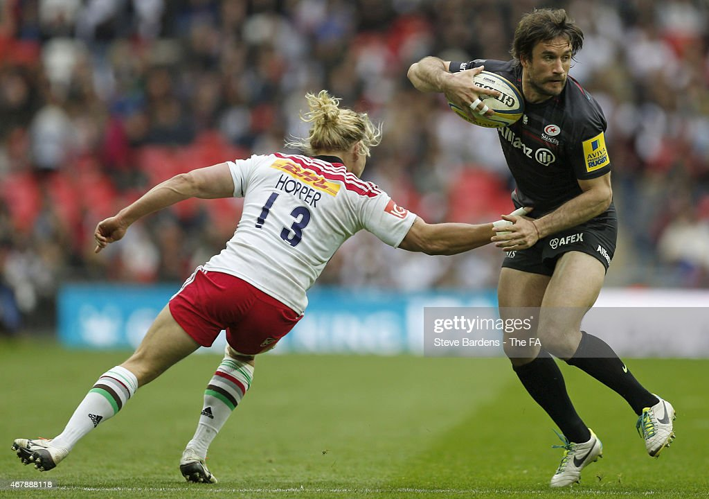 <a gi-track='captionPersonalityLinkClicked' href=/galleries/search?phrase=Marcelo+Bosch&family=editorial&specificpeople=820246 ng-click='$event.stopPropagation()'>Marcelo Bosch</a> of Saracens is tackled by Matt Hopper of Harlequins during the Aviva Premiership between Saracens and Harlequins at Wembley Stadium on March 28, 2015 in London, England.