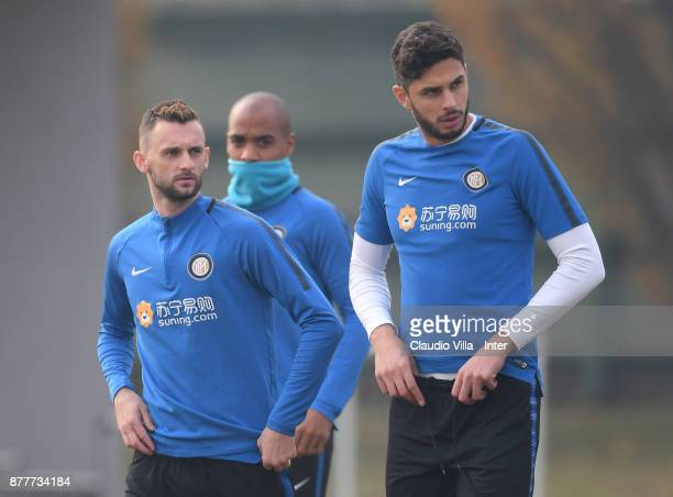 Marcelo Brozovic and Andrea Ranocchia of FC Internazionale look on during the FC Internazionale training session at Suning Training Center at Appiano...