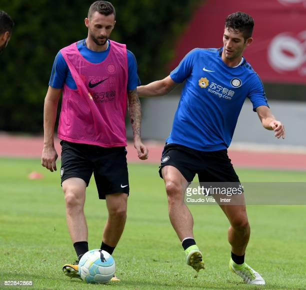Marcelo Brozovic and Roberto Gagliardini of FC Internazionale compete for the ball during a training session at Bishan Sports Hall on July 26 2017 in...
