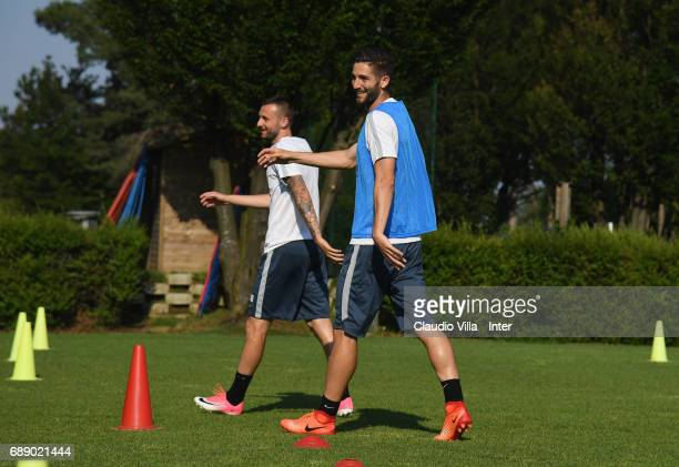Marcelo Brozovic and Roberto Gagliardini of FC Internazionale smile during FC Internazionale training session at Suning Training Center at Appiano...
